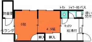 角部屋防音室付ハイツBN107間取り図