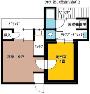 防音室付アパート間取り図C66・67