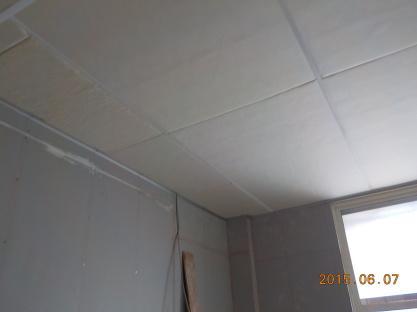 天井吸音板張り完成