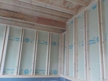 防音室外壁張り(内側から)