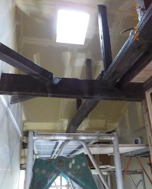 古民家風の防音室の天井張りパテ刷り
