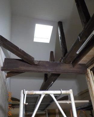 古民家風の防音室 天井部分のクロス貼り