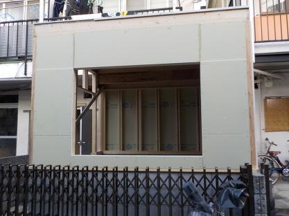 防音室外壁張り(窓付近)