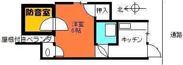 防音室付アパート間取り図