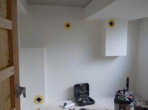 別棟防音室 換気口およびエアコン用穴まわりのシリコーン