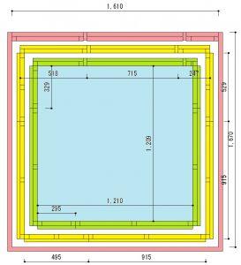 3重の防音室の図面